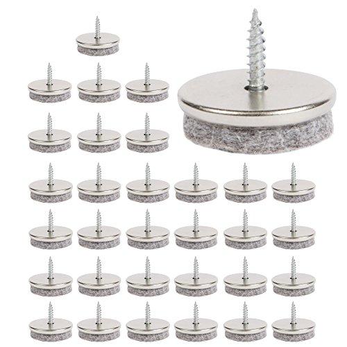 Filzgleiter – Paket 32 Möbelgleiter 28mm Durchmesser Filzgleiter Schrauben. Stuhl Filzgleiter mit 5mm dickem Filz sind ideale Stuhlbeinschoner, leichtge Montage mit Schrauben