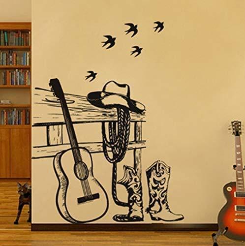 Sch & Ouml; Ne Gitarre Ritter Wandaufkleber Tier Vogel Caf & Eacute;Musikunter Abziehbild Wohnzimmer Wanddekoration Poster Interessant 110 * 90 Cm