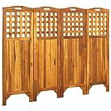 FAMIROSA Biombo de 4 Paneles Madera Maciza de Acacia 161x2x120 cm-1879