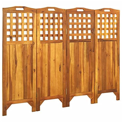 vidaXL Madera Maciza de Acacia Biombo de 4 Paneles Separador Ambientes Privacidad Pantalla Plegable Partición Vestidor Decoración 161x2x120 cm