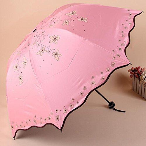 GTWP GTWP GT Regenschirm Manual Mode 3 Folding Umbrella kreativ, Willow Blumen Stockschirm Robuste Winddicht Anti-UV-Sonnenschutz Dach