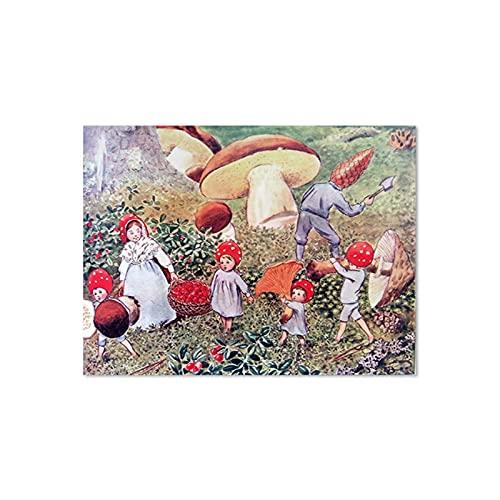 Cartel de ilustración de cuento de hadas vintage Bosque Bebé Hadas Ardillas Seta Vivero Lienzo Arte de la pared Imágenes Pintura 50x70 cm x1 Sin marco