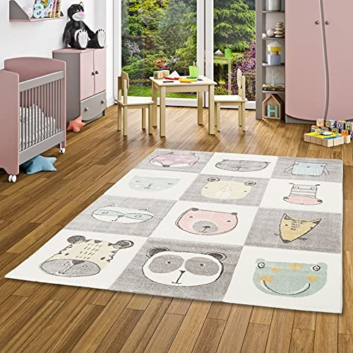 Pergamon Maui Kids - Alfombra Infantil - Happy Animals coloré 5 tamaños