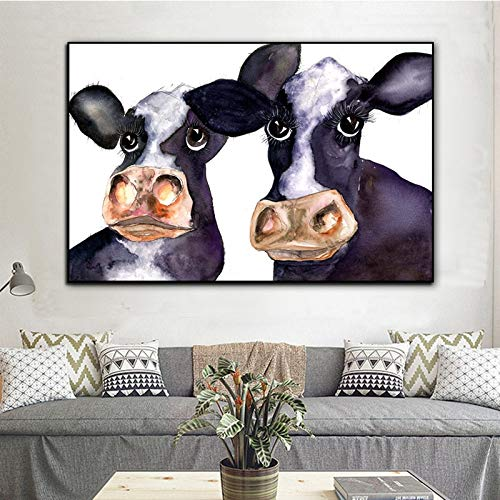 Moderne muur poster canvas schilderij dier schilderen twee koeien kinderen woonkamer woondecoratie canvas schilderij frameloze schilderij 40x50cm
