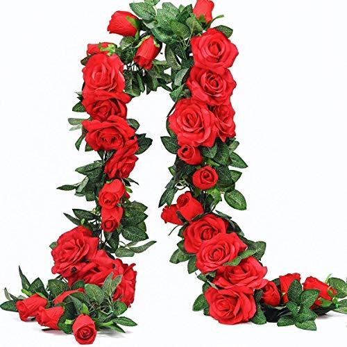 Ancokig Guirnalda de rosas artificiales, flores de seda para colgar plantas artificiales para hotel, boda, hogar, fiesta, jardín, manualidades, arco, decoración (2 unidades, 10 flores, rojo)