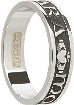 Ladies Claddagh Wedding Ring Womens Mo Anam Cara Oxidized Silver Made in Ireland