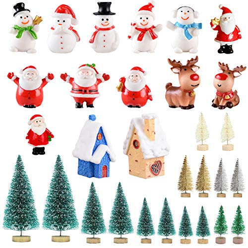 Feelava 30 Stück Weihnachten Miniatur Ornament Kits Mini Xmas Style Figuren Weihnachtsmann Weihnachtsbaum niedlichen Cartoon Xmas Decor für Home Garden Party Decor Desktop Dekoration