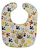 Caroline's Treasures BB5839BIB Pawprints French Bulldog Cream Baby Bib, 10 x 13
