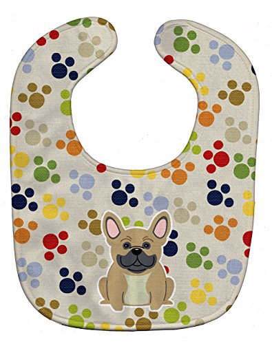 Caroline's Treasures BB5839BIB Pawprints French Bulldog Cream Baby Bib, 10 x 13', multicolor