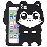 YONOCOSTA Cute iPod Touch 7 Case, iPod Touch 6 Case, iPod Touch 5 Case, Funny Kawaii 3D Cartoon Big Eye Black Cat Kitty Animals Soft Silicone Shockproof Cases Cover for Kids Child Girls Women