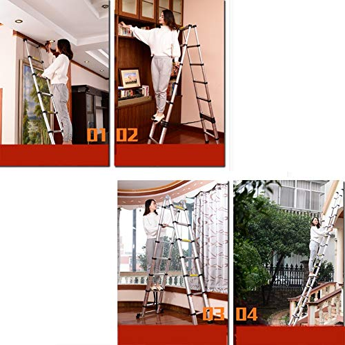 Extension ladder Retractable Ladder, Aluminum Alloy Ladder, Expandable Portable Attic Stairs, in Compliance with EN131 and CE Standards Step Ladder (Size : 2.0m)