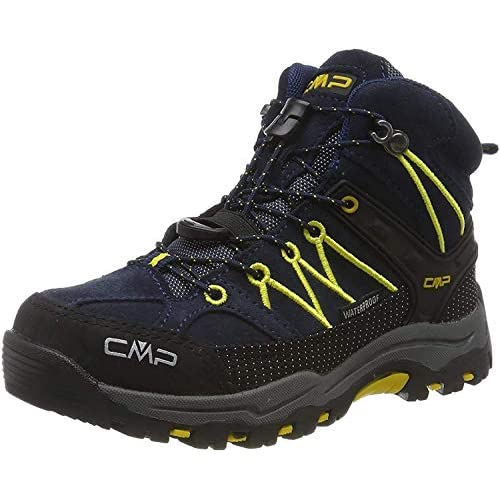 CMP Kids Rigel Mid Trekking Shoe WP, Scarpe da Arrampicata Alta Unisex-Bambini, Blu (B.Blue-Zafferano 11nd), 38 EU