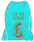 Hariz - Bolsa de deporte, diseño con texto en alemán 'Ich Bin Schon Sechs 6 Geburtstag Geschenkidee Inkl. Geschenk Karte, color azul azur, tamaño talla única