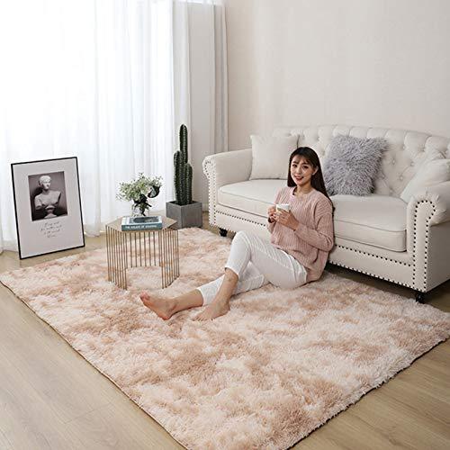 AMZERO Alfombra de Diseño Alfombras en IKEA Alfombras Baratas Pelo Largo Fluffy Alfombra para Dormitorio, Comedor, Pasillo y habitación Infantil, Pelo Largo, Beige 200x280cm