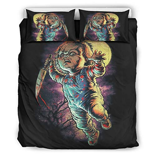 Hothotvery 3PC Bed Linen Sets Halloween Film Charactor Night 3-Piece Bed Linen Printed Soft Pillowcase Christmas Quilt Cover and Pillow Shams White 229 x 229 cm