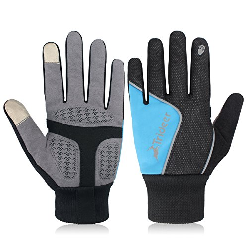 Trideer Winter Gloves Touchscreen Windproof Multifunctional Full Finger Gloves, Great for Ski Cycling Camping Hiking, for Men & Women (Black+Blue, L)
