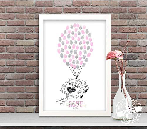 Auto VW Käfer Wedding-Tree Leinwand zur Hochzeit, Fingerabdruck-bild Luftballone, Gästebuch-idee