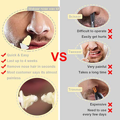Nose Wax Kit 100g with 30 Applicators, Nose Hair Removal Wax (15-20 Times Usage ) for Men&Women,Safe, Easy, Quick and Painless