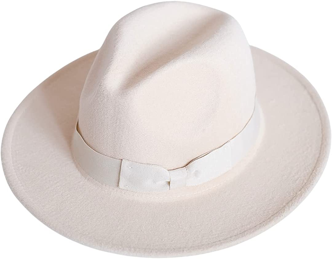 MG Cooper Wide Brim Fedora Hats for Women - Removable Ribbon Band Fedora Hats