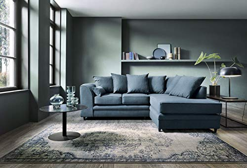 Abakus Direct   Darcy Corner Sofa Settee Right or Left in Teal Linen Fabric (Right Hand Corner)