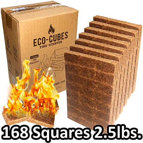 EasyGo Product Eco Cubes - Fire Starter Squares - Great Lighter for Chimney, Charcoal Grill, Fireplace, Campfire, Pellet Stove, Wood Stove (Qty168)