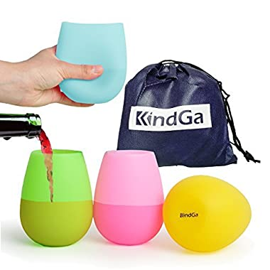 KindGa Silicone Wine Glasses Unbreakable Stemless Outdoor Rubber Wine Cups,100% Silicone Dishwasher Safety - Foldable Shatterproof Party Cups for Travel Camping Pool Picnic/Multicolor 12 oz(Set of 4)