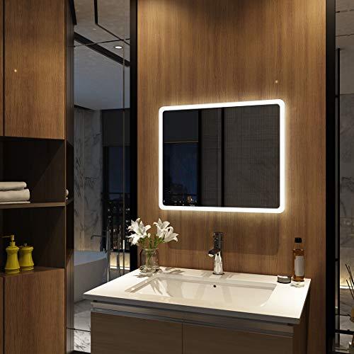 Meykoers LED Badspiegel 45x60cm Wandspiegel Badezimmerspiegel mit Beleuchtung Lichtspiegel Kaltweiß 6400K Lichtspiegel durch Wand-Schalter Energieklasse A++