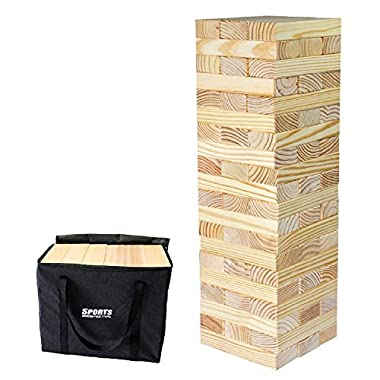 Sports Festival Giant Wooden Toppling Tumbling Timbers Tower with Storage Bag Jumbo Huge Blocks Like Lawn Games for Family Backyard Fun
