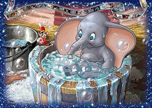 NA/ DIY Gemälde Kits Malen nach Zahlen Erwachsene Kunst Basteln Leinwand Wand Decor-2573 Baden eines kleinen grauen Elefanten(16 * 20 Zoll,Ohne Rahmen)