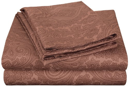 Cotton Blend 600 Thread Count, Deep Pocket, Soft, Wrinkle Resistant 4-Piece King Bed Sheet Set, Paisley, Chocolate