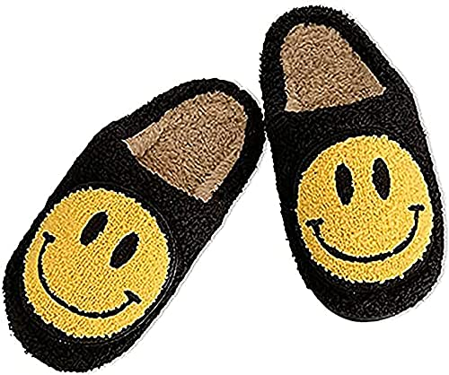 MTDBAOD Comfy Smiley Face Plush Slipper, Warm Slipper with Memory Foam Home,Slip-on Slippers, Comfy Light Cute Cartoon Non Slip Indoor Outdoor Slipper for Family Members (6.5,Black)