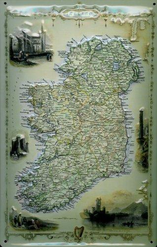 Buddel-Bini Versand Blechschild Nostalgieschild Ireland Landkarte Irland Retro Schild