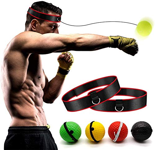 Boxing Reflex Ball –Boxing Training Ball 2 Difficulty Level Boxing Ball with Headband, Suit for Reaction, Agility, Punching Speed, Fight Skill and Hand Eye Coordination Training [Family Pack]