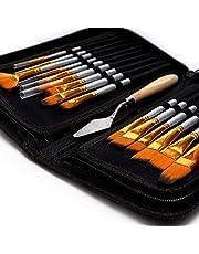 """مجموعة فرش الرسم الفنية المكونة من 15 شكلاً ومقاسات مختلفة، سكين طلاء مجانية واسفنجة مائية """"لا تتساقط"""" مقابض خشبية """"لطلاء الجسم والاكريليك والزيتي"""