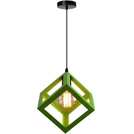 STOEX Suspension Luminaire Industrielle Contemporain, Lustre Abat-Jour Plafonnier en Métal Fer Cage E27 (Cube-Vert)