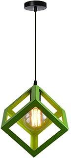 Creativa Lámpara de Techo Colgante Industrial Vintage Lámpara Colgante Cubo Metal con 100cm Cable Ajustable Araña Simple para Cocina Comedor Sala de estar, Verde
