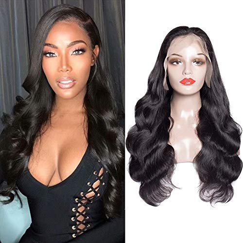 Maxine Full Lace Wigs Human Hair Brazilian 10A Body Wave Virgin Hair Full Lace Wig Pre Plucked with Baby Hair for Black Women 180% Density 10a Grade Natural Color 12 inch