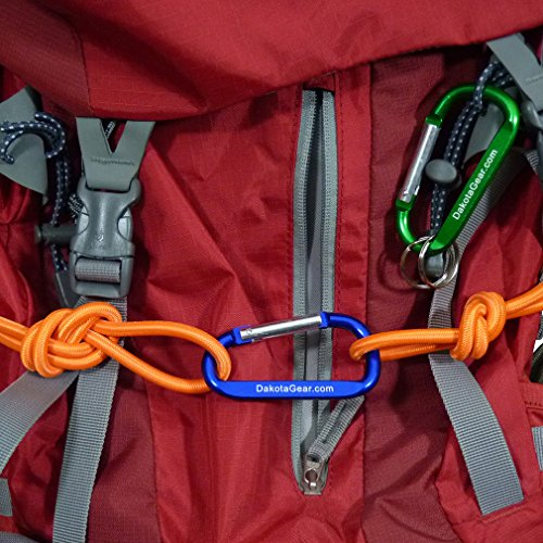 """Dakota Gear (TM) Shock Cord - Red Licorice Red 1/4"""" x 25 ft. Hank. Marine Grade. Also Called Bungee Cord, Stretch Cord & Elastic Cord. Made in USA. 2 Carabiners and Knot Tying eBook."""