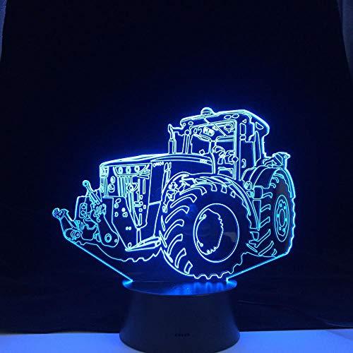Lámpara de luz 3D 7 colores Tractor car7 Lámpara de mesa de color USB Mood Artistic Kids Dormitorio Iluminación para dormir junto a la cama-16 color remote control