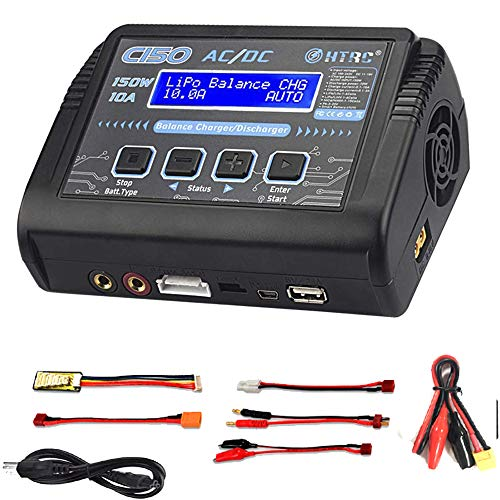 RUIZHI Caricabatterie LiPo, scaricatore Caricabatterie bilanciamento Batteria 150W 10A AC / DC per Batteria agli ioni di Litio / Vita / NiCd / NiMH / LiHV / PB / Smart (Adattatore per Caricabatterie)