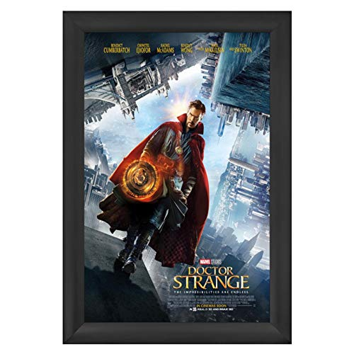 SnapeZo Poster Frame 27x40 Inches, Black 2.2 Inch Aluminum Profile, Front-Loading Snap Frame, Wall Mounting, Super-Wide Series for One Sheet Movie Posters