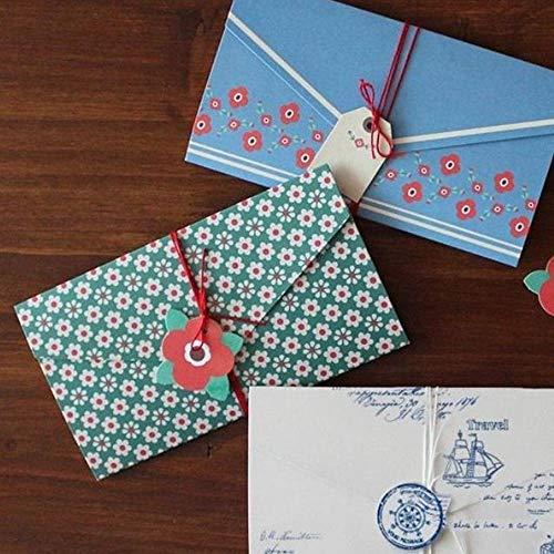 QLRL 1 Satz von 4 Designs 4 Leere Papierumschläge + 4 hängende Karten mit Schnüren für Briefpostkarten-Einladungsumschläge