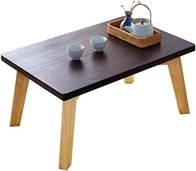 Solid Wood Bay Window Table Laptop Table Coffee Table Low Table Balcony Coffee Table Sofa Side Table Bed Desk (Color : Brown, Size : 60 * 40 * 30cm)