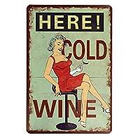 【USA アメリカン デザイン】HERE COLD WINE 冷たいワインはここ!USA キッチン レストラン カフェ ガレージ サインボード ビンテージ バイカー インテリア 看板 ; AVSB-305