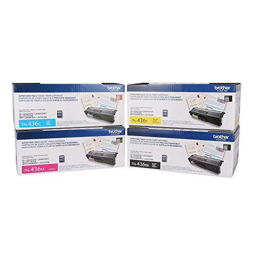 Brother Genuine TN436BK, TN436C, TN436M, TN436Y High Yield Color Laser Black, Cyan, Magenta and Yellow Toner Cartridge Set