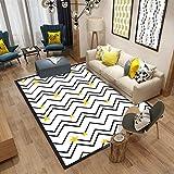 LMDY Alfombra para el hogar nórdico Moderno Minimalista Sala de Estar sofá Dormitorio Manta de Noche Alfombrillas de Estudiolíneas Blancas y Negras Estrellas amarillasblanco160*230cm