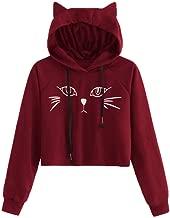 Elogoog Crop Tops, Hoodie for Womens Girls Cute Cat Print Hooded Ear Long Sleeve Blouse T-Shirts