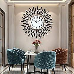 Fleble Metal 23.6 inch Black Drop Wall Clock 3D Non-Ticking Silent Quartz Clocks,White Glass Dial with Arabic Numerals,Diamond Round Home Decoration