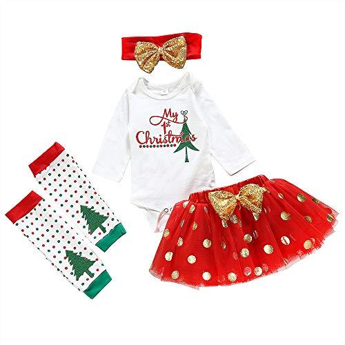 4Pcs Newborn Baby Girl Clothes My 1st Christmas Bodysuit+Dot Tutu Skirt+Leg Warmers+Sequins Bow Headband Outfits Set (Red, 0-3 Months)