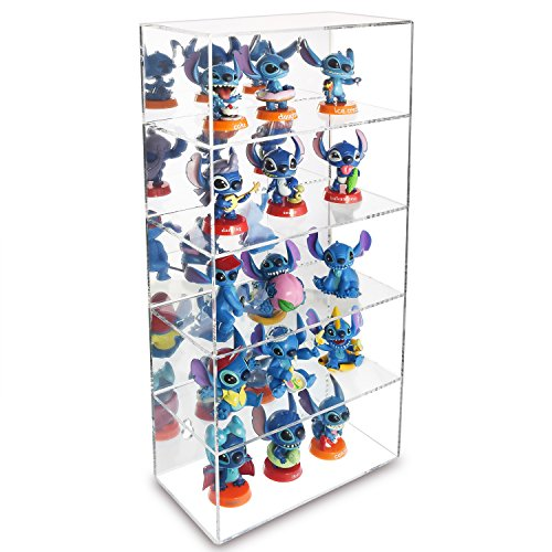 Ikee Design Acrylic 5 Levels Mirrored Back Display Shelve, Wall Mounted Collection Display Case Display, Free Standing Sunglasses Rack for Store, Showcase and Home Decor, 7.1